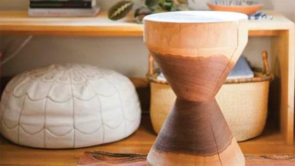Turned walnut stool