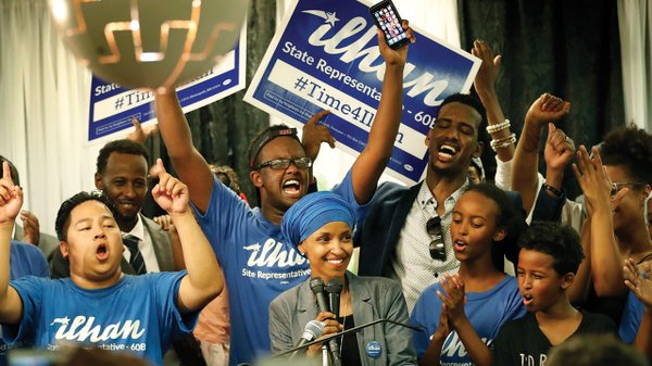 Ilhan Omar celebrates her primary win on August 9.