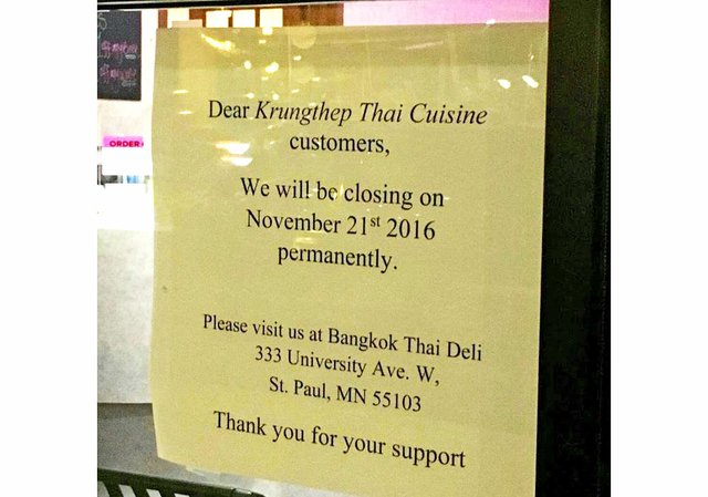 Krungthep Thai Closing on Eat Street in Minneapolis