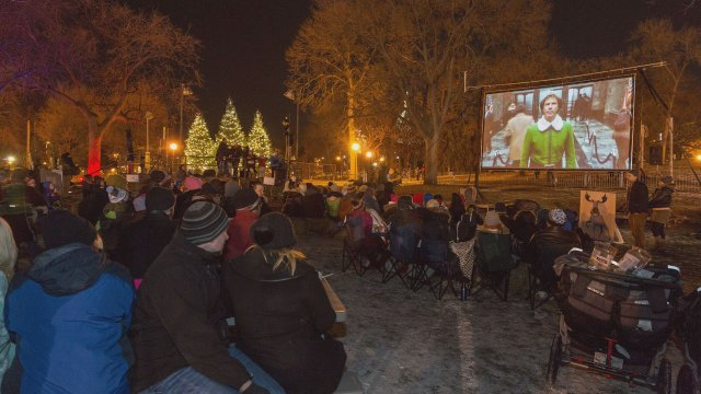 Movie night at Holidazzle