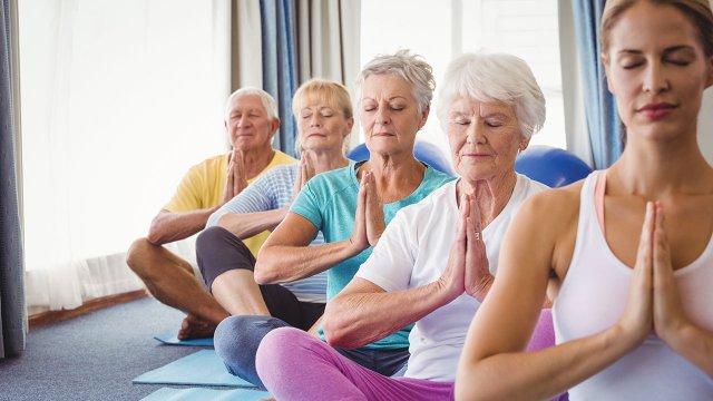 Senior Citizen doing a yoga pose