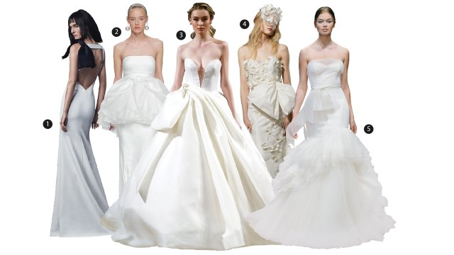 five wedding dresses from the runway with oversized bows