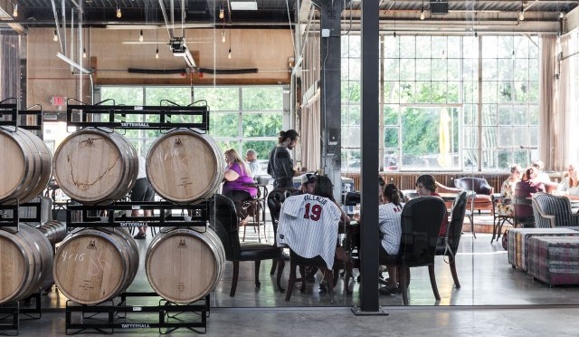 People dining at Tattersall Distillery