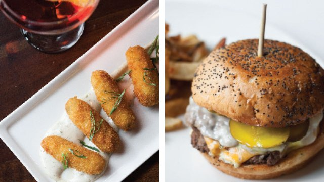 Fitzgerald's croquettes and Mercury Dining Room and Rail's burger