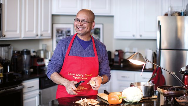Raghavan Iyer cooking at home