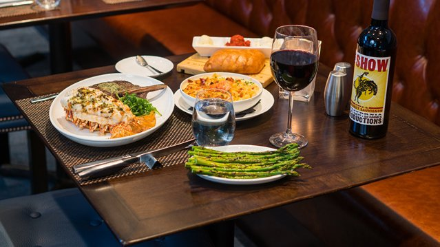 Food and wine spread at Bloomington Chophouse