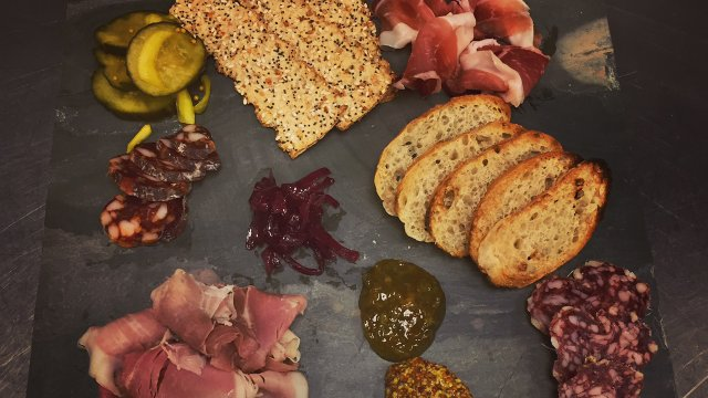 Charcuterie breads, cheeses and meats at Bloomington Chophouse