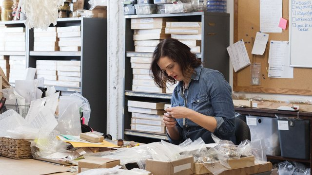 Jewelry designer Larissa Loden at work in her studio