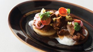 Cafe Almas corn cakes with lamb