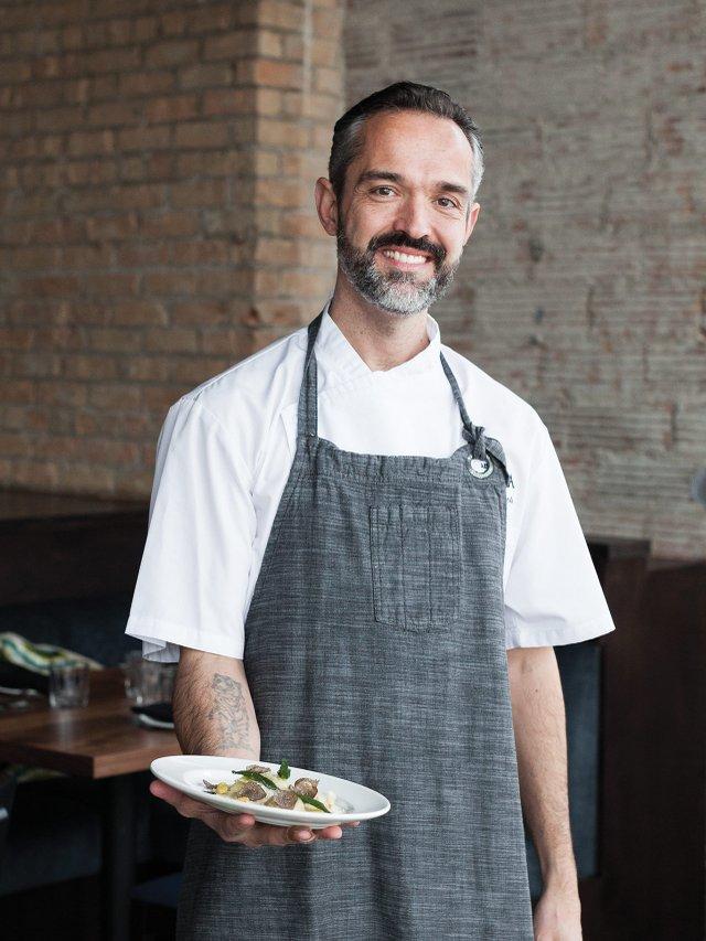 Cafe Alma's chef Alex Roberts with bread-stuffed ravioli