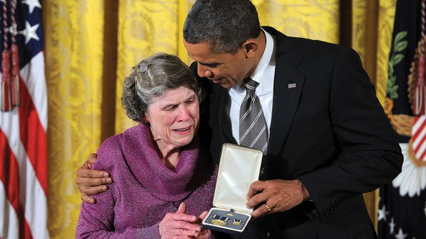 Mary Jo Copeland receiving the 2012 Presidential Citizens Medal from President Obama