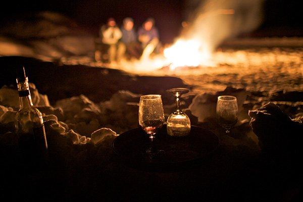 Bonfire in the snow