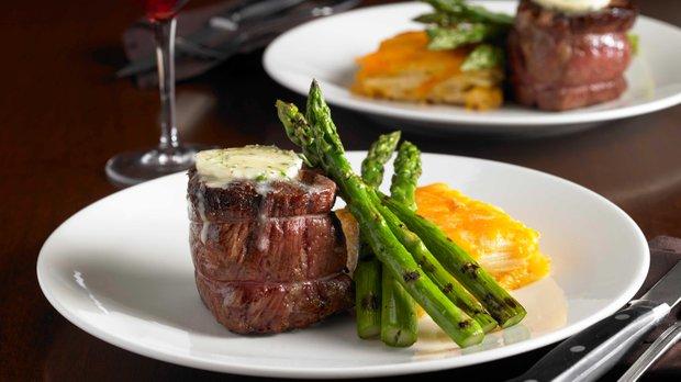 Steak dinner entree at Mystic Steakhouse
