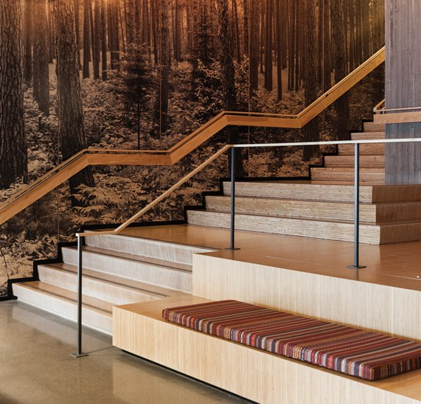 Wooden staircase in the lobby of T3
