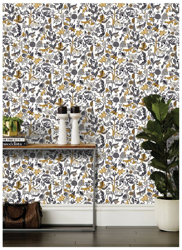 Modern wallpaper. Mix of flowers, animals, and botanical patterns