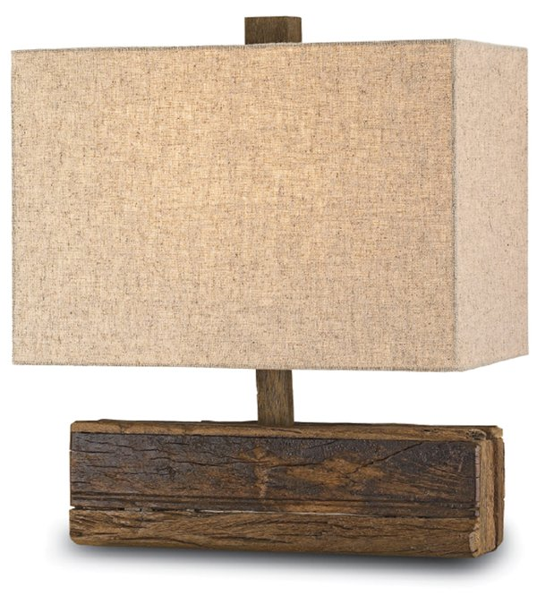 lamp with linen shade and recycled wooden base