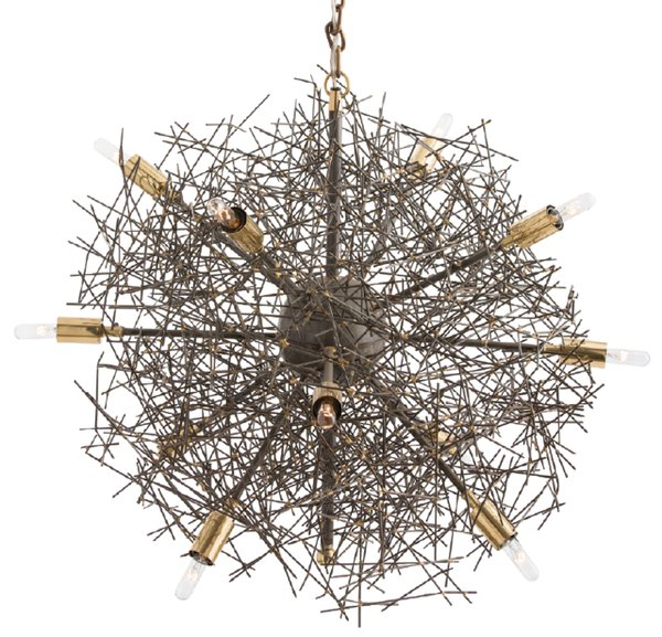Iron and brass ceiling fixture resembling a tumbleweed