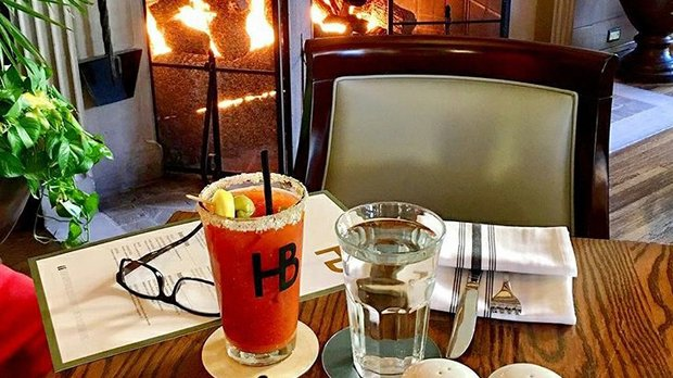 Bloody Marys by the fire at Herbie's on the Park in St.Paul