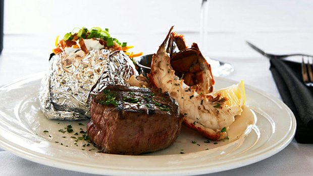 The surf and turf meal at Crooners Lounge and Supper Club