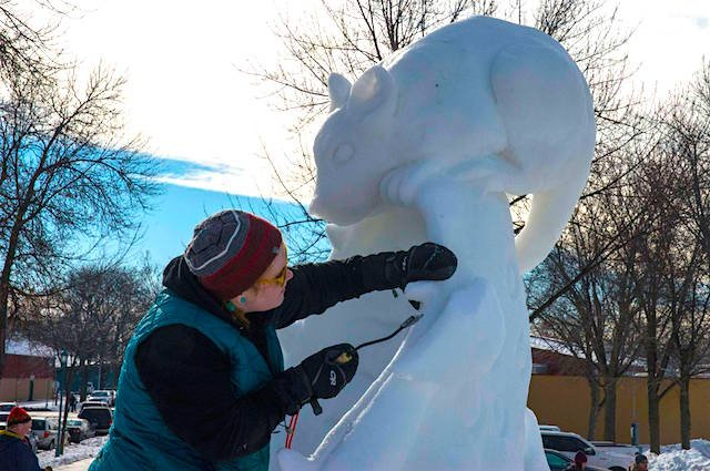 Saint Paul Winter Carnival Snow Sculpting in Progress