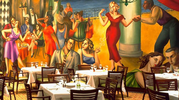 The dining area and murals at Pazzaluna in St. Paul