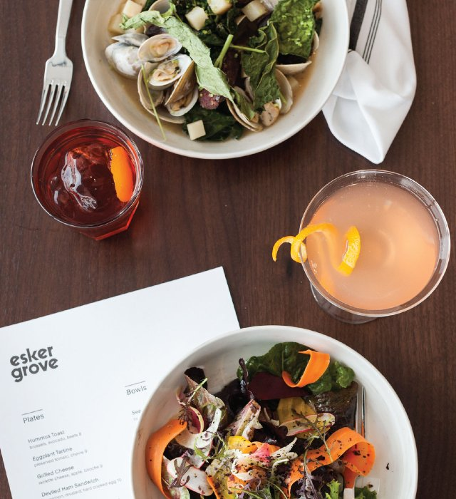 Clams and a salad with cocktails at Esker Grove