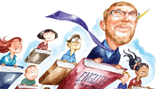 Illustration of people flying on books