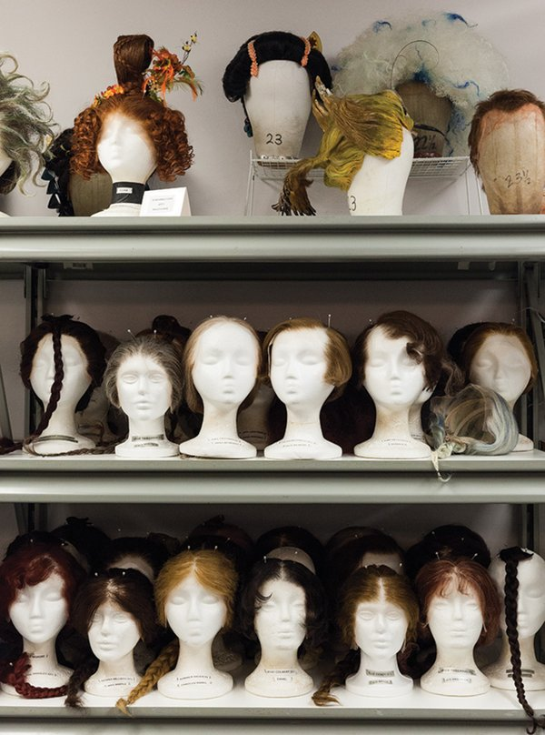Wigs at the Guthrie from past shows