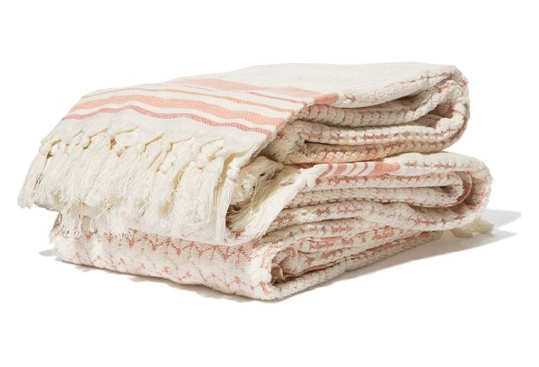 Coral chevron bath towels, from Cost Plus World Market