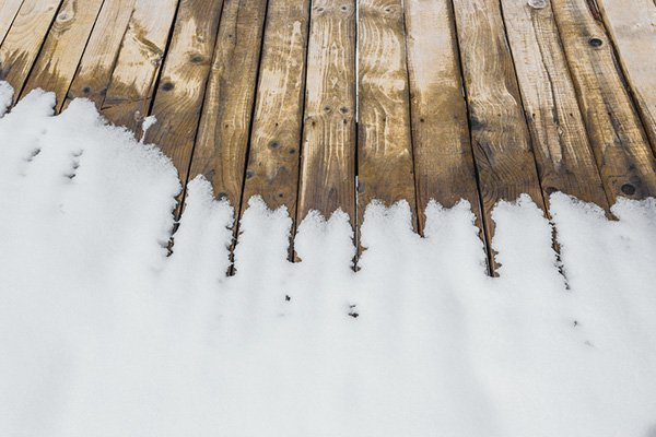 Deck with melting snow
