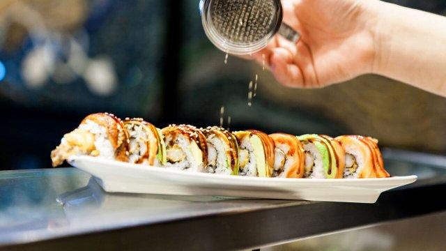 The dragon roll sushi is prepped at Saji Ya