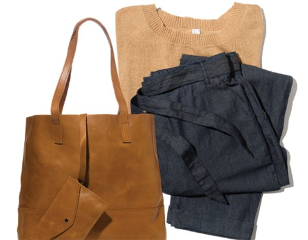 Leather tote, cotton pullover, chambray pants from Ethos Collection