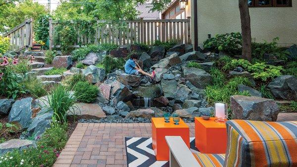 Flowing water rock garden