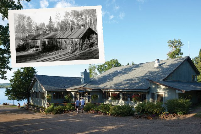 Gunflint Lodge in 1928 and today