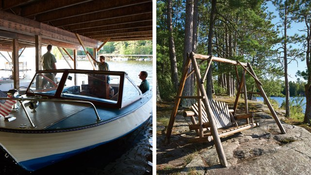 Ludlow's Island Resort - Chris-Craft boats and bench swing