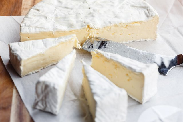 Slices of brie cheese