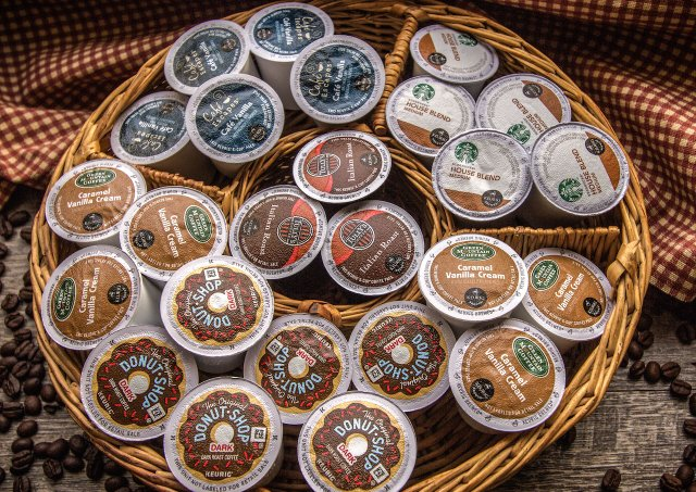 Basket of coffee podds