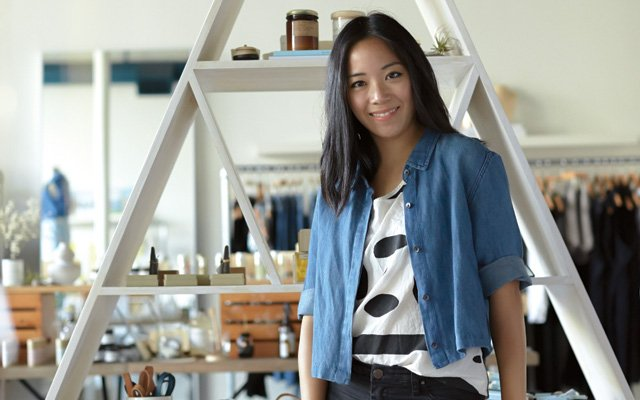 Thao Nguyen inside her boutique, Parc in Northeast Minneapolis, MN