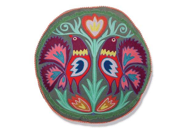 Embroidered pom pom bird pillow