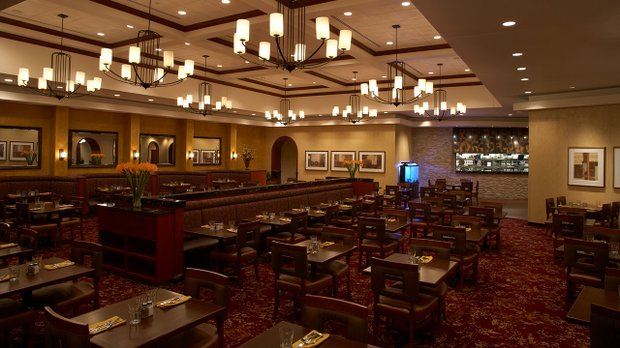 The dining room at Mystic Steakhouse