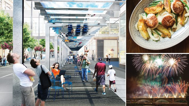The all-new Nicollet Mall, Mercury Dining Room and Rail, and Aquatennial's Target Fireworks will light up the riverfront July 22.