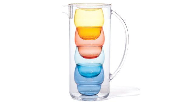 Pitcher with bubble tumblers