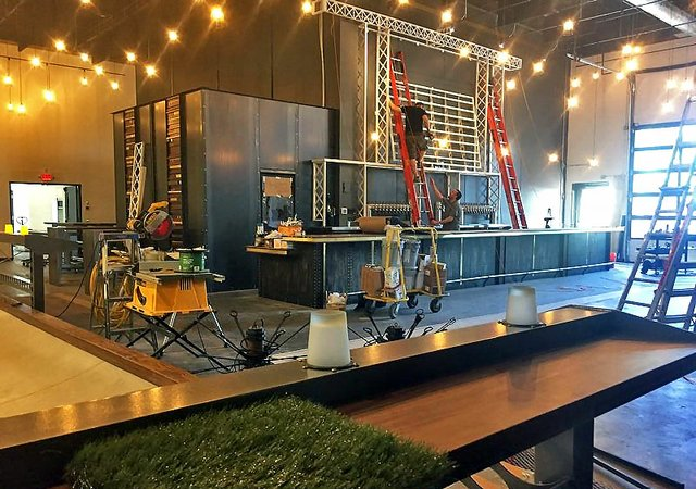 Construction at Pryes Brewing's new tap room