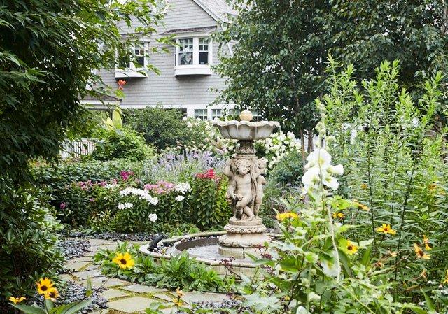 Backyard garden with fountain