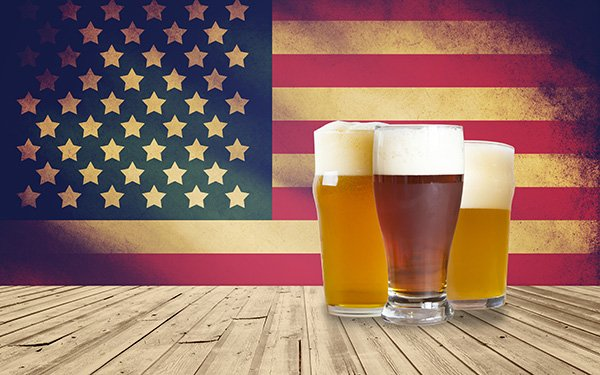 Beer and American flag photo from shutterstock