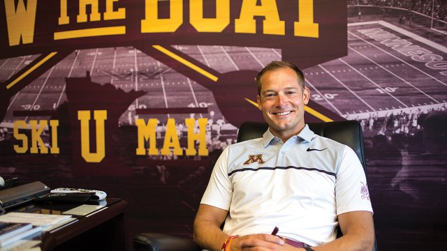 P.J. Fleck in his office