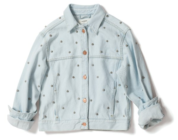 denim jacket with pearls from Grethen House