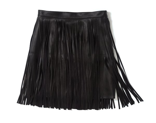 Fringe faux leather skirt from Roe Wolfe