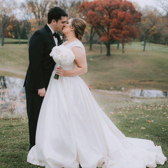 Taylor and Sam wedding kiss