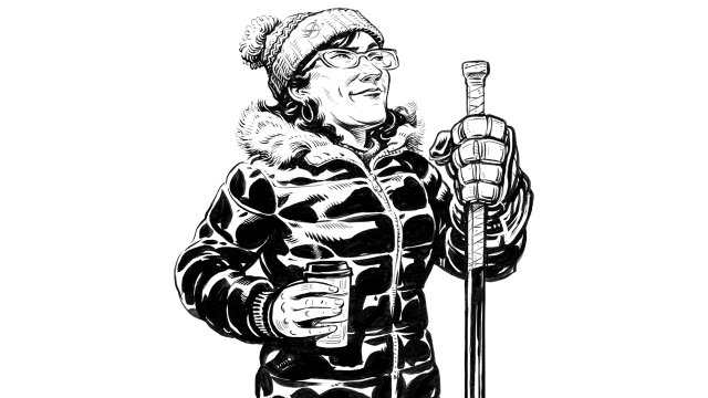 Illustration of a hockey mom